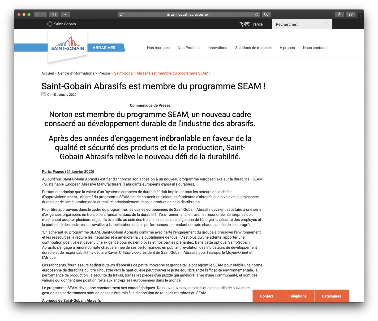 Saint-Gobain Abrasifs est membre du programme SEAM !