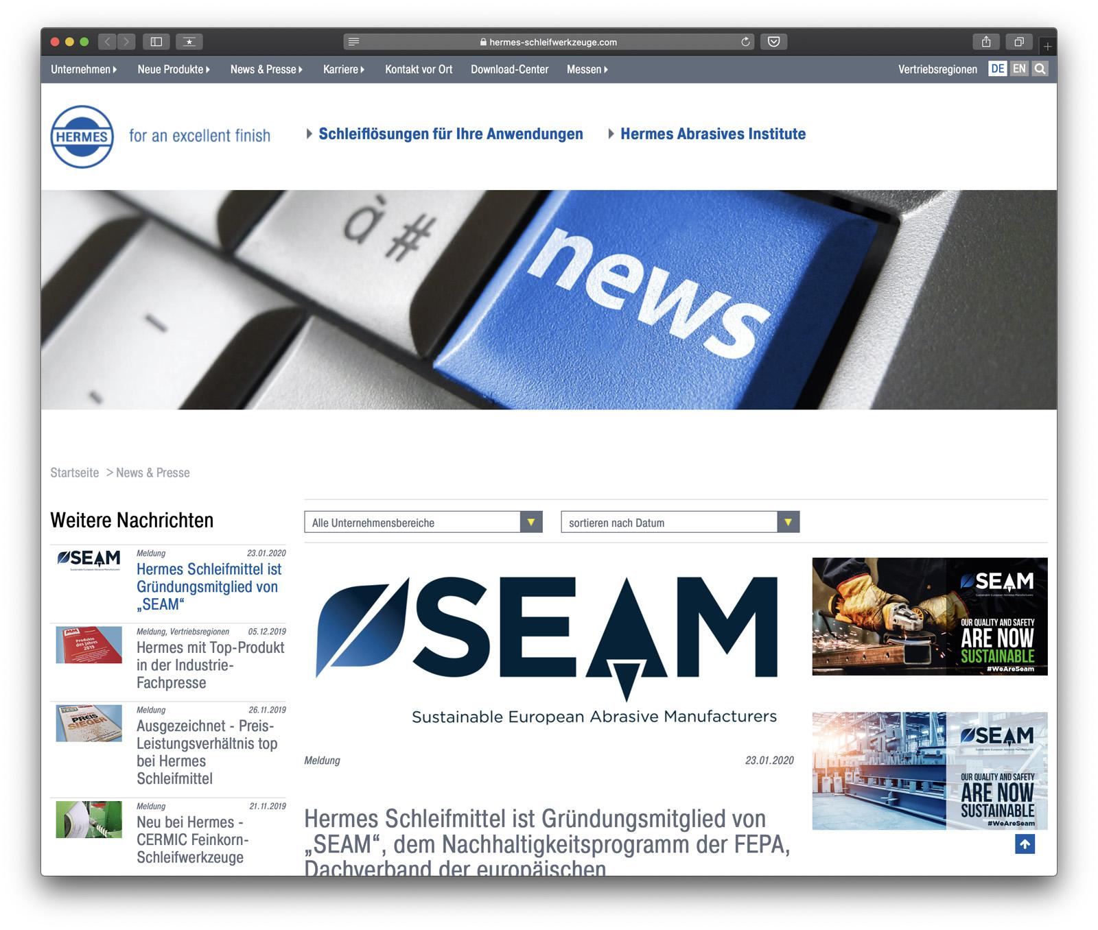 Hermes Schleifmittel ist Gründungsmitglied von SEAM