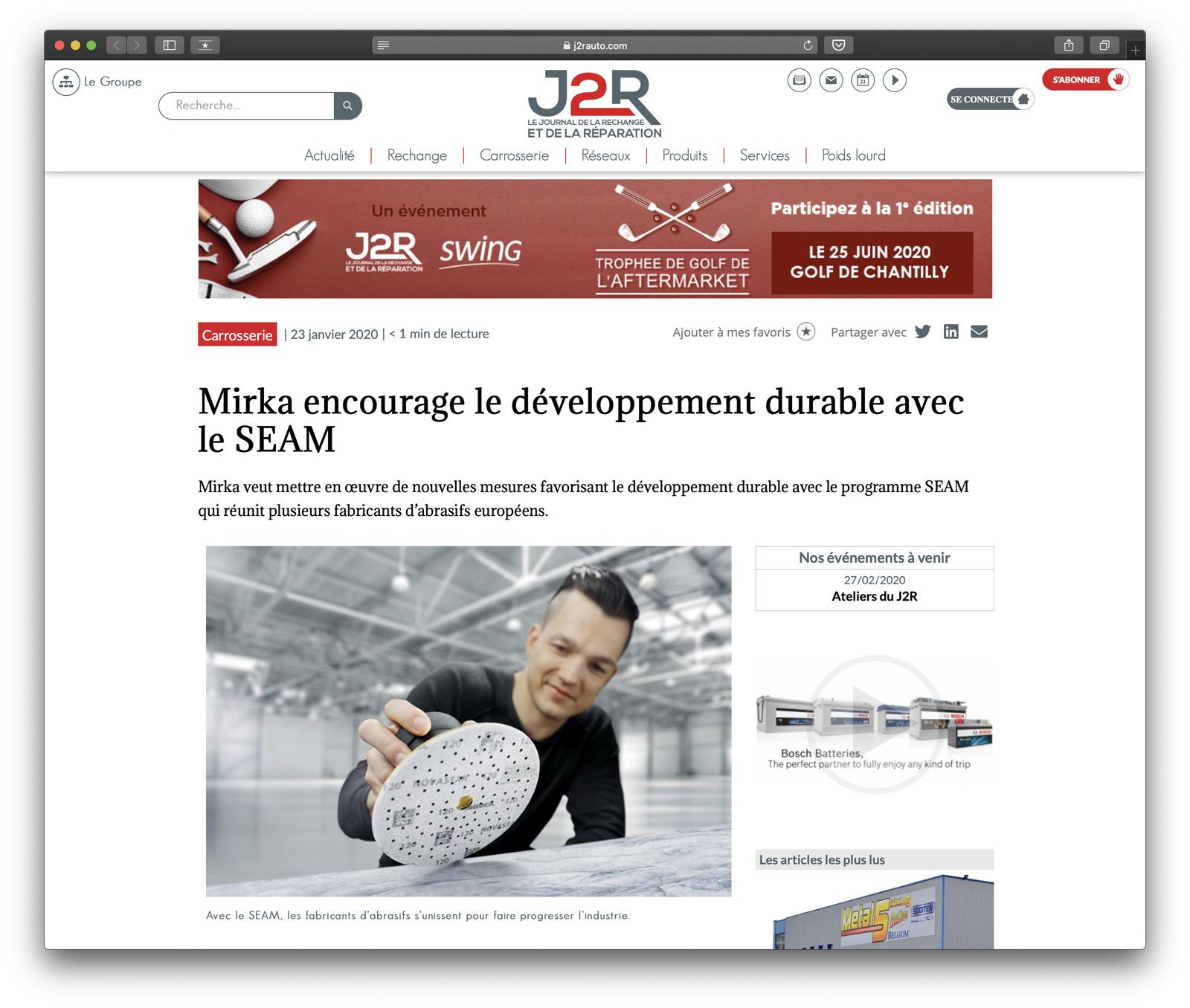 Mirka encourage le développement durable avec le SEAM